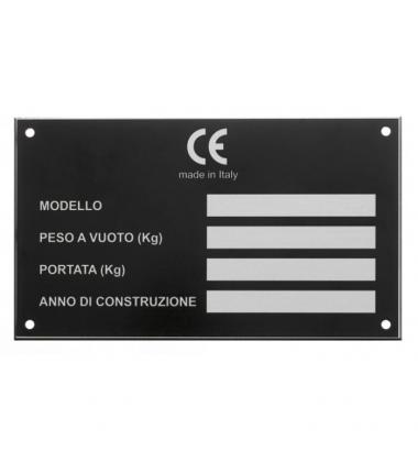 DC059 Targhetta in alluminio con stampa serigrafica